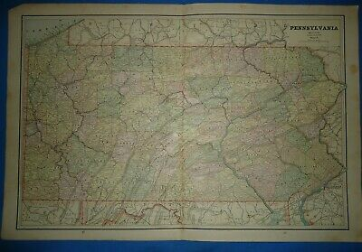 Vintage 1891 PENNSYLVANIA Map Old Antique Original Atlas Map 22119