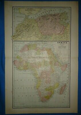Vintage 1891 AFRICA Map Old Antique Original Atlas Map 22119