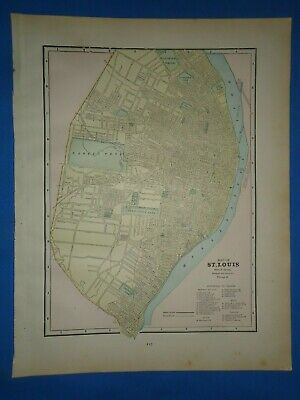 Vintage 1891 ST. LOUIS Map Old Antique Original Atlas Map 22119