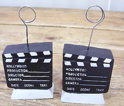 2 Hollywood Director Cut Clapper Board Photo Picture Holder Frame Wire Holder