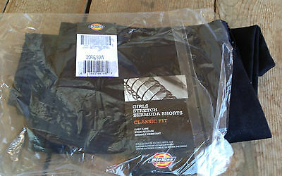 "Dickies Girls Juniors Black Stretch Bermuda Shorts NWT Cotton/Poly 30"" W Uniform"
