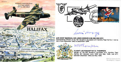 PP4 HALIFAX RAF cover signed ACM Hodges DSO DFC & Flt Lt Thompson WWII WW2