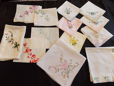 Lot of 12 Vintage Floral Embroidered Hankies Handkerchiefs