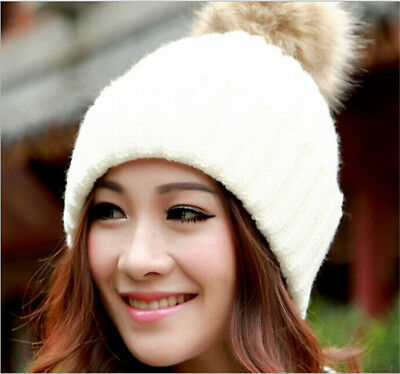Women's Girl's Fitted Winter Warm Wool Apparel Hat With Large Fur Pompon Cap