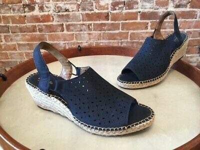 e992a390ff7 Clarks Artisan Navy Blue Leather Petrina Gail Espadrille Wedge Sandal New