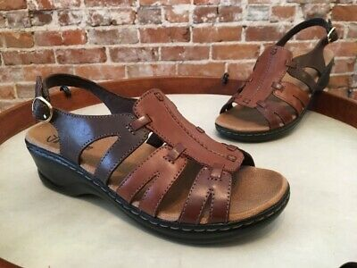 6bf6f4bf75c0 CLARKS BROWN MULTI Leather Lexi Marigold Ankle Strap Comfort Sandal ...
