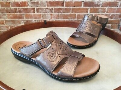 b42e614c3 CLARKS PEWTER LEATHER Leisa Higley Comfort Slide Sandal 7 Sale ...