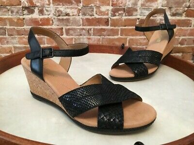 006543e5cd1 CLARKS HELIO LATITUDE Black Leather Ankle Strap Cork Wedge Sandal 10 ...