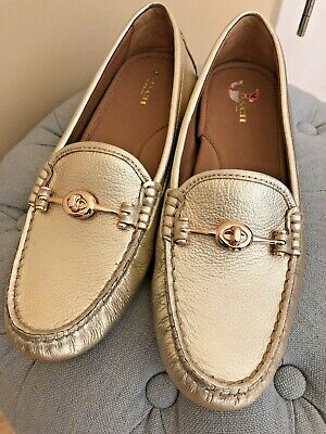 c271d563704 NEW STUNNING Coach Arlene Gold Leather Slip On Flats Driving Moccasins  9.5 39.5