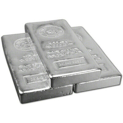 THREE (3) 100 oz. RCM Silver Bar - Royal Canadian Mint .9999 Fine