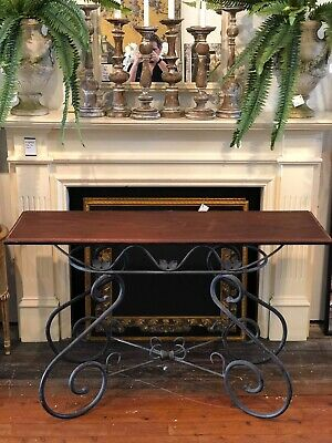 Rustic French Style Vintage Wrought Iron Base Stained Timber Top Console Table