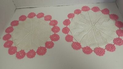 vintage doilies pink AND WHITE HANDMADE DOILY SHABBY CHIC DOILIES