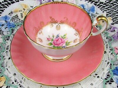 Aynsley Pink Rose Fancy Gold Gilt Blush Tea Cup And Saucer Teacup