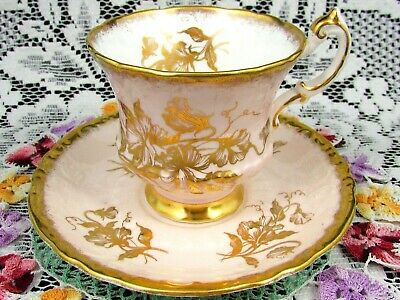 Paragon Gold Gilt Sweet Pea Blush Pink Embossed Tea Cup And Saucer