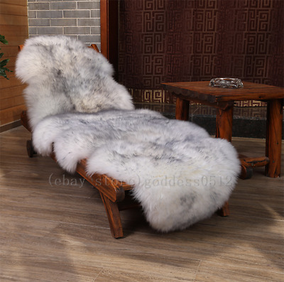 Real fur White With Gray Tip Double Pelt Sheepskin Wool 6/'x2/' SOFT Rug Floor Mat