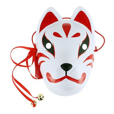 Japanese Japan Hand-Painted Fox Mask Full Face with Tassels Bells PVC Cosplay 9""