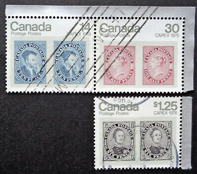 CANADA#754-56 used set of singles from 1978 CAPEX souvenir sheet #756a
