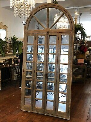 French Antique Paned Mirrored Timber Doors / Arch Windows Architectural
