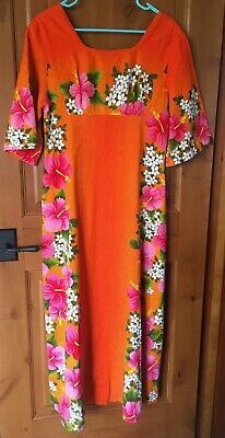 66271815ebfd VINTAGE 60'S UI MAIKAI BARKCLOTH EMPIRE WAIST MAXI DRESS ORANGES ...