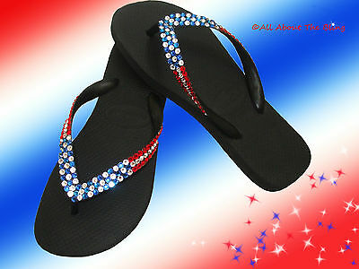 1cf25e532 Havaianas flip flops or wedge using Swarovski Crystals Rhinestone Flag  Design