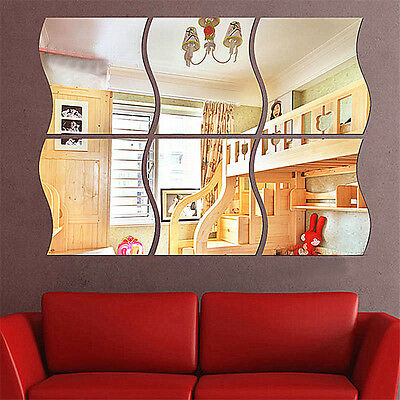 6X Modern Wave Removable Acrylic Wall Mirror Sticker Art Vinyl Mural Home Decor