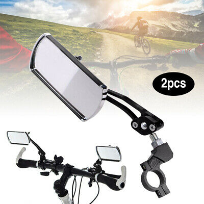 2x Bicycle Bike Cycling Handlebar Rear View Rearview Mirror Rectangle+ Base