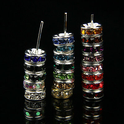 100p Color Random Mixed Czech Crystal Rhinestone Silver Rondelle Spacer Beads