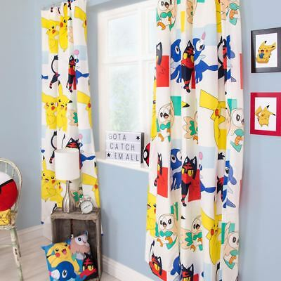 "POKEMON DASH READYMADE CURTAINS KIDS BEDROOM 183cm / 72"" DROP"