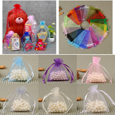 1-100X Small White Organza Bags Wedding Favour Pouches Gift Candy Bag 10X15cm UK