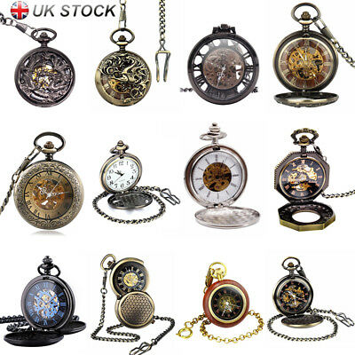 Men's Retro Pocket Watch Open Face Skeleton Steampunk Dragon Eagle Mechanical OR