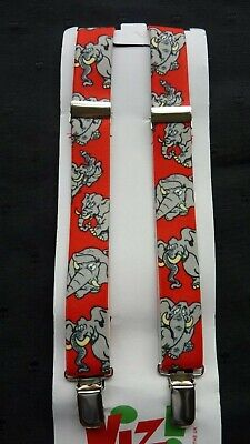 BRACES for BOYS/GIRLS/CHILDREN -NEW - RED WITH GREY ELEPHANTS 1-6 yrs. UK MADE