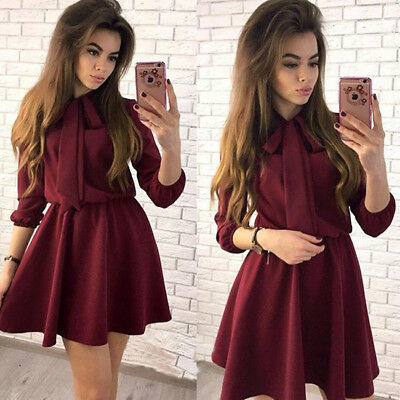 Women's Fashion Bow Causal Party Dress Spring O-neck Solid Vintage Mini Dress