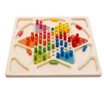 Ludo Board Game & Chinese Checkers 2 in 1 Natural Wooden Board Flying Chess
