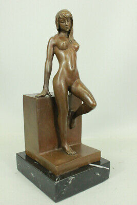 Bronze Handcrafted Art Sculpture Exotic Sensual  Posed Nude Statue MARBLE BASE