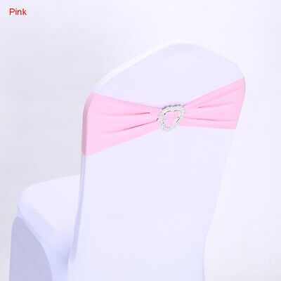 HOT Elasticity Stretch Chair Cover Band Buckle Slider Sashes Bow Chairs Decor