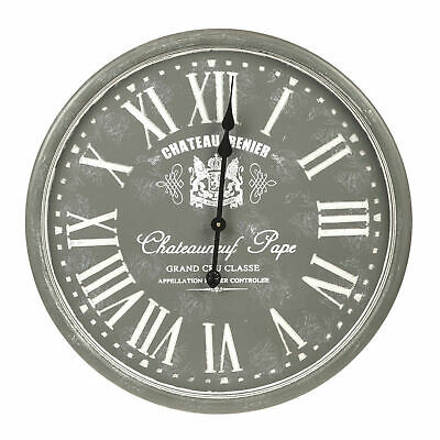 Large Oversized Vintage Grey French Roman Numerals Shabby Chic Wall Clock 60cm