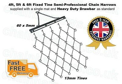 4ft, 5ft, 6ft wide x 5ft deep FIXED Trailed Grass Chain Harrows 5 YEAR WARRANTY