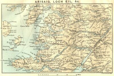SCOTLAND. Arisaig, Loch Eil 1887 old antique vintage map plan chart