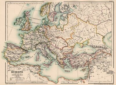 CAROLINGIAN EMPIRE. Europe of Charlemagne 768-814. 8th-9th century 1902 map