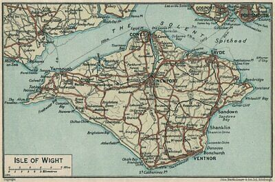 ISLE OF WIGHT. Vintage map plan. Isle of Wight 1930 old vintage chart