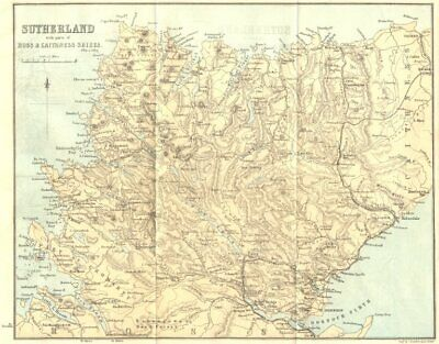 SCOTLAND. Sutherland, with parts of Ross shire & Caithness shire 1887 old map