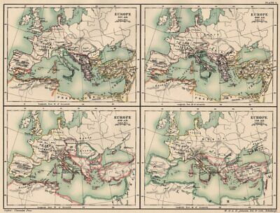 DARK AGES EUROPE. in 565 600 650 & 720 AD. 6th 7th & 8th centuries 1902 map