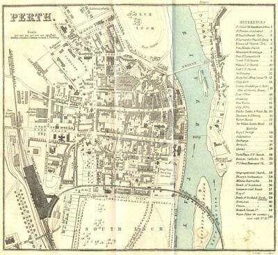 SCOTLAND. Perth town city plan 1887 old antique vintage map chart