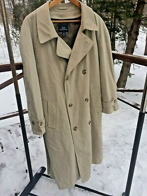 Brooks Brothers 42 Short Double Breasted Zip Out Liner Dress Trench Coat Jacket