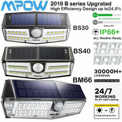Mpow 30/40/66LED Solar Lights Motion Sensor Garden Patio Wall Fence Lamp Outdoor