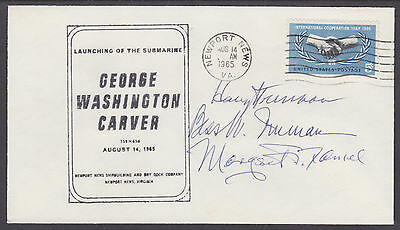 Harry S. Truman, US President, Bess Truman, Signed 1965 Submarine Launch Cover