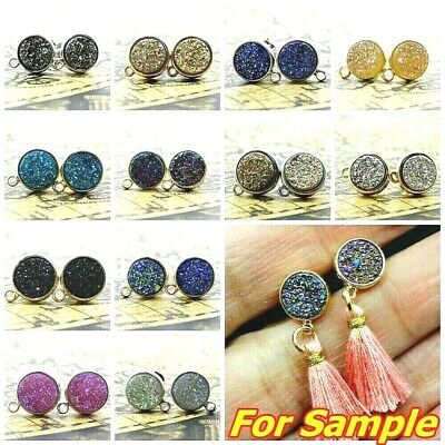 Pair 9mm Gold AB Natural Druzy Quartz Agate Silver Plated Studs Earrings FINDING