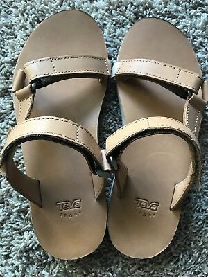 1d8ea7731 New Womens Size 9 Teva Tan Universal Slides Leather Sandals Shoes 1011501