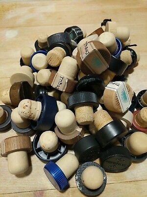 Lot Of 50 Bottle Toppers, Cork & Synthetic, T-tops, Stoppers, Used and Recycled