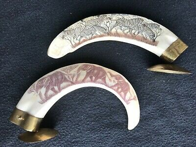Antique African Pig Boar Tusk Carvings of Elephant + Zebra AUTHENTIC *